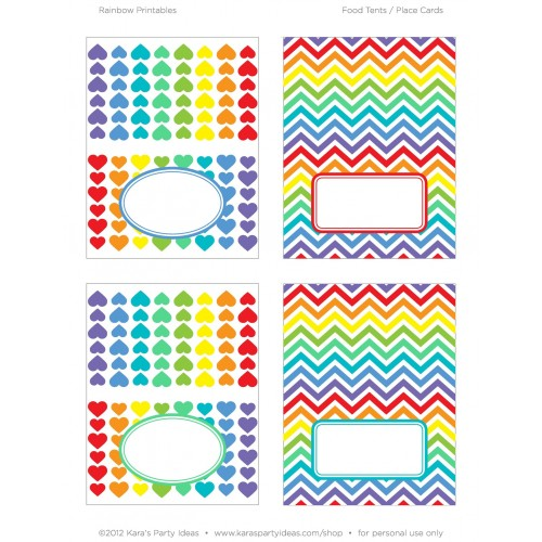 Rainbow Party <b>Placecards</b> Printables